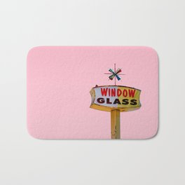 Atomic Pink Starburst - Vintage Googie-Style Sign with Pink Background Bath Mat