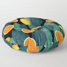 Lemons And Oranges On Black Floor Pillow