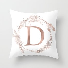Letter D Rose Gold Pink Initial Monogram Throw Pillow