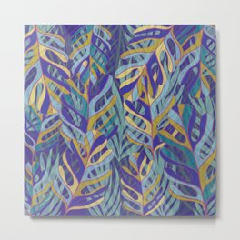 Tropical Leaves, blue and mustard pattern Metal Print
