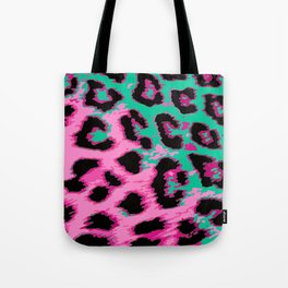Hot Pink and Aqua Leopard Spots Tote Bag