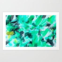 green blue yellow and black painting texture abstract background Art Print