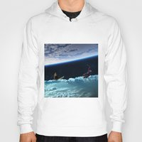 skiing Hoodies featuring Skiing by Cs025