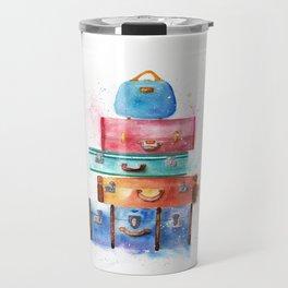 Watercolor Suitcases Illustration Art Travel Mug