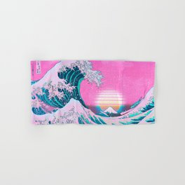 Vaporwave Aesthetic Great Wave Off Kanagawa Sunset Hand & Bath Towel