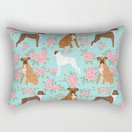 Boxer florals floral pattern dog portrait pet friendly dog breeds boxers Rectangular Pillow