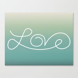 Love calligraphy print - Lakeview gradient with white print Canvas Print