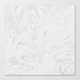 Elegant white silver glitter abstract marble Canvas Print