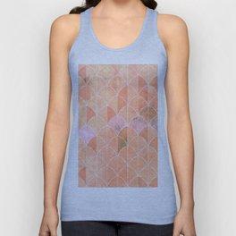 Mermaid scales. Peach and pink watercolors. Unisex Tank Top