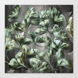 Ginko Leaves on Gray Abstract Canvas Print