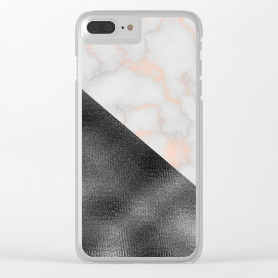 Rose gold marble and gunmetal grey storm Clear iPhone Case
