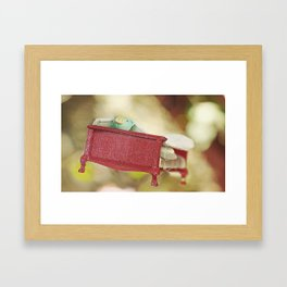 Pig on flying bed Framed Art Print