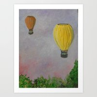 hot air balloon Art Prints featuring Hot Air Balloon Adventure by RokinRonda