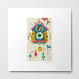 Cuckoo Clock Cats Metal Print