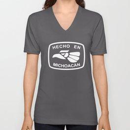 Hecho En Michoacan Michoacán Morelia Mexico Made in All Sizes Colors skeleton Unisex V-Neck