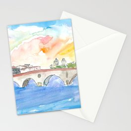 Ponte Pietra Crossing Adige River In Verona Stationery Cards