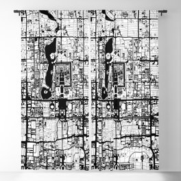 Beijing city map black and white Blackout Curtain