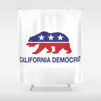 political Shower Curtains featuring California Political Democrat Bear by Democrat