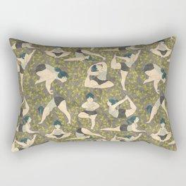 Yoga girls in green and brown Rectangular Pillow