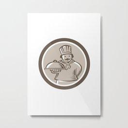 Chef Cook Serving Food Platter Circle Metal Print