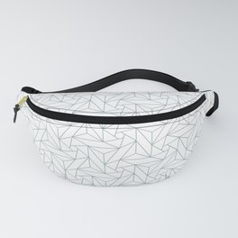 Pastel Blue & White Abstract Triangle Geometric Mosaic Shape Pattern Pairs To 2020 Color of the Year Fanny Pack