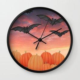 sunset pumpkins & bats Wall Clock
