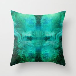 """Abstract aquamarine, deep waves"" Throw Pillow"