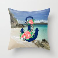 anchors Throw Pillows featuring Anchors by Bri Delasole