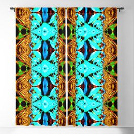 Gold, green and neon blue Snake Skin psychedelic fractal. Blackout Curtain