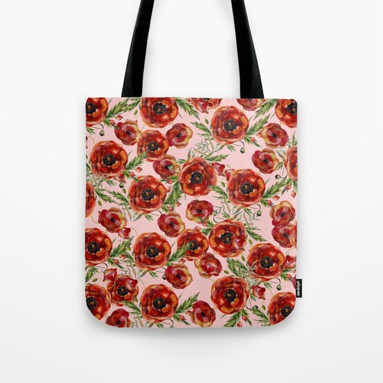 Poppy Pattern On Pink Background Tote Bag
