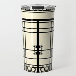 ART DECO, ART NOUVEAU IRONWORK: Black and Cream Travel Mug