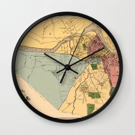 Map Of Lowell 1881 Wall Clock