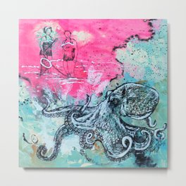 Octopus and Two Women Metal Print