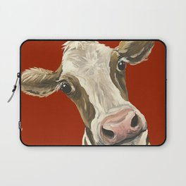 Cute Cow Painting, Red Cow Painting Laptop Sleeve