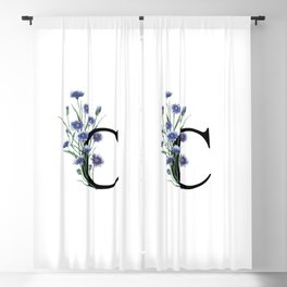 Letter 'C' Cornflower Typography Blackout Curtain