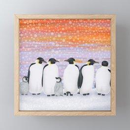 emperor penguins and chicks winter sunset Framed Mini Art Print