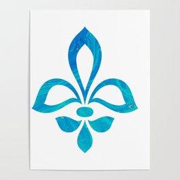 Blue Fleur De Lis Abstract Poster