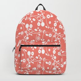 Salmon Pink Floral Pattern Backpack