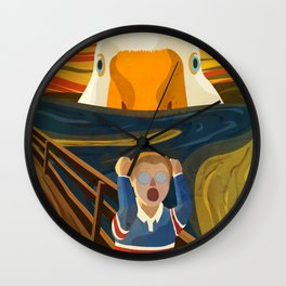 The Honk - Untitled Goose Game Famous The Scream Canvas Painting Parody Meme Thematic Gift Wall Clock