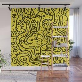 Yellow Graffiti Street Art Posca  Wall Mural