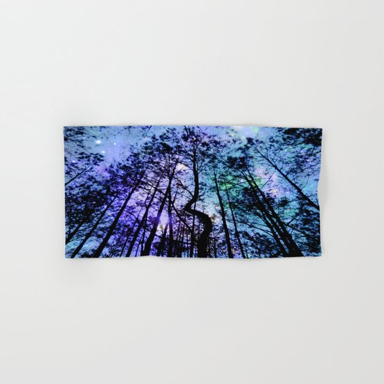 Black Trees Aqua Lavender Space Hand & Bath Towel
