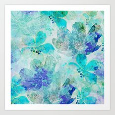 blue turquoise mixed media flower illustration Art Print