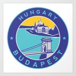 Budapest, Hungary, blue circle Art Print