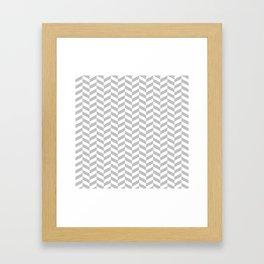 Silver Gray Herringbone Pattern Framed Art Print