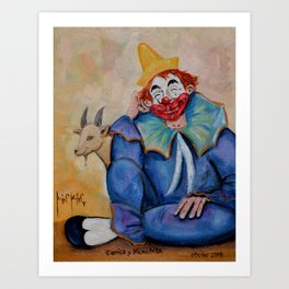 The Clown Canicas and Monchito the goat El Canicas y Monchito Oil on Canvas Original Kinkin Art Print