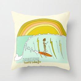 surf legend gerry lopez lightning bolt retro surf art by surfy birdy Throw Pillow