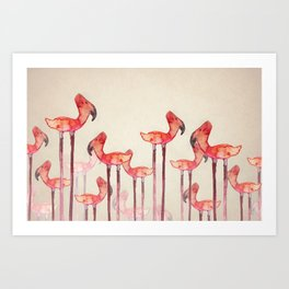 Transmogrified Flamingo Colony Art Print