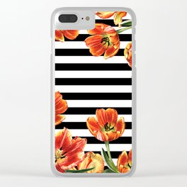 Red Orange Tulips Black Stripes Chic Clear iPhone Case