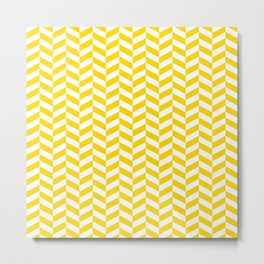 Gold Yellow Herringbone Pattern Metal Print