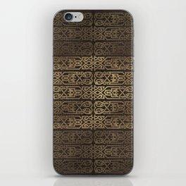 Golden Celtic Pattern on wooden texture iPhone Skin